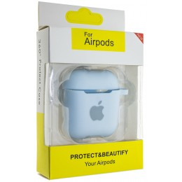 Чехол AIRPODS Silicone case NEW (№43) Light blue