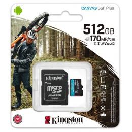 microSDXC (UHS-1 U3) Kingston Canvas Go Plus 512Gb class 10 A2 V30 (R170MB/s, W90MB/s) (adapter SD)