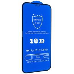 Защитное стекло 10D for iPhone 12 / 12 PRO (6,1) black тех упаковка