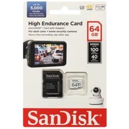 microSDXC (UHS-1 U3) SanDisk High Endurance 64Gb class 10 V30 (100Mb/s) (adapterSD)